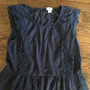 Jcrew Navy eyelet sleeveless top peplum Small
